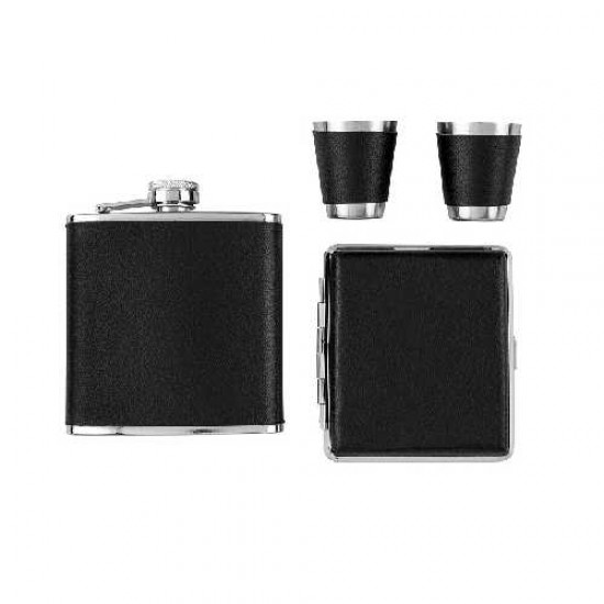 Angelo Flask Set (black) w cig case