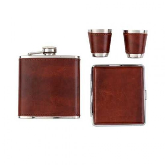 Angelo Flask Set (brown) w cig case