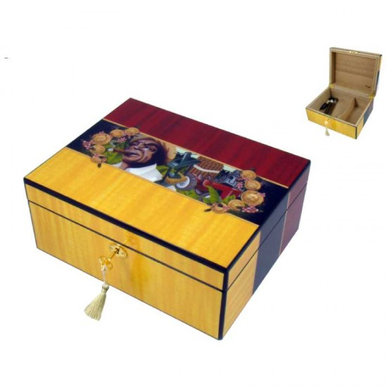 Angelo Humidor (yellow/red) 30x24x13cm