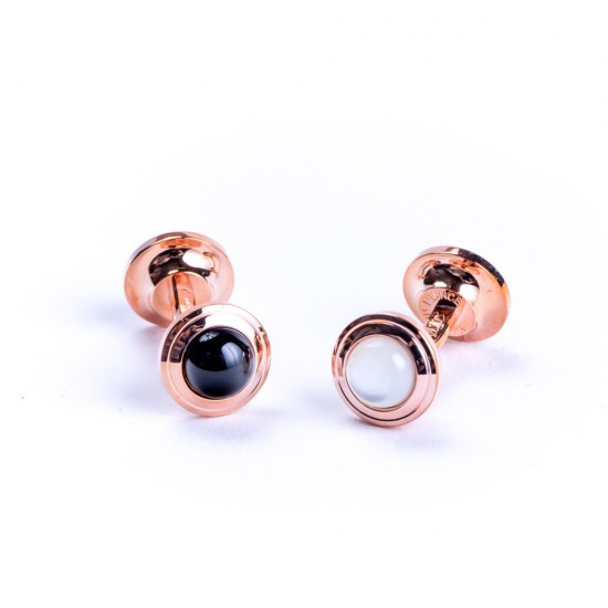 Butoni Onyx&Mother of Pearl Pink Gold