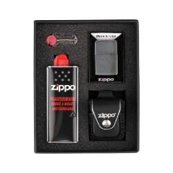 Bricheta Zippo Chrome Brushed Set (black)