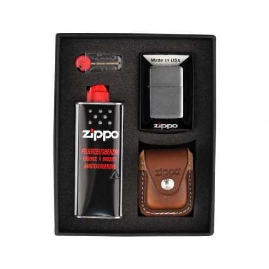 Zippo Chrome Brushed Set (brown)