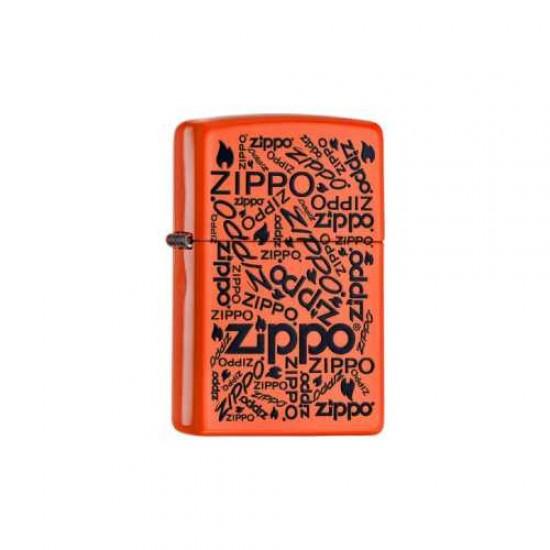 Bricheta Zippo Neon Orange Multilogo